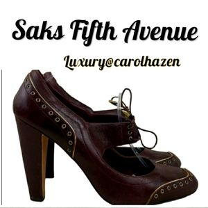 SAKS FIFTH AVENUE Mary Jane Shoes Lace Tie Oxford